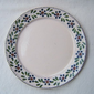 Mexican Pottery - Lead Free round white plate with decorated border