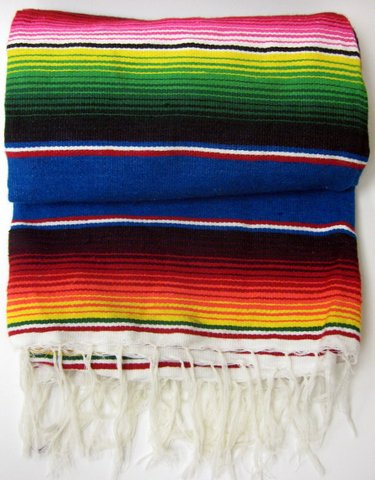 Sarape Mexico Grande Large Colorful Mexican Blanket 45