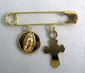 Religious Gold Pin - Our Lady of Guadalupe Medal & Cross - Seguro de Oro con Medalla V. Guadalupe y Cruz