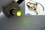 CHROME Toggle Switch with LED GREEN 12v Car Neon / Leds / NOS