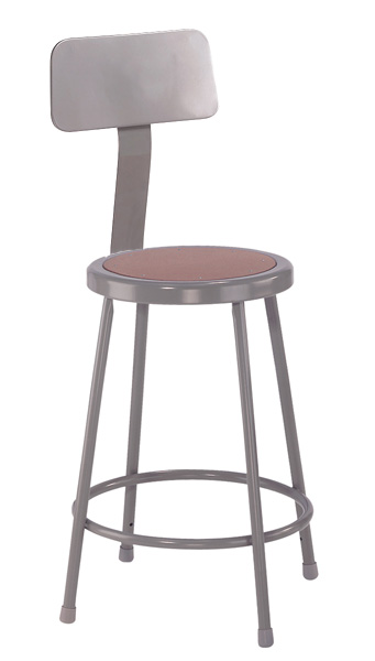 Fixed Height Heavy-Duty Lab and Shop Stools with Backrest