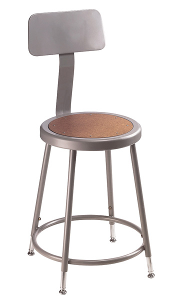 Adjustable Height Heavy-Duty Lab and Shop Stools w/Backrest