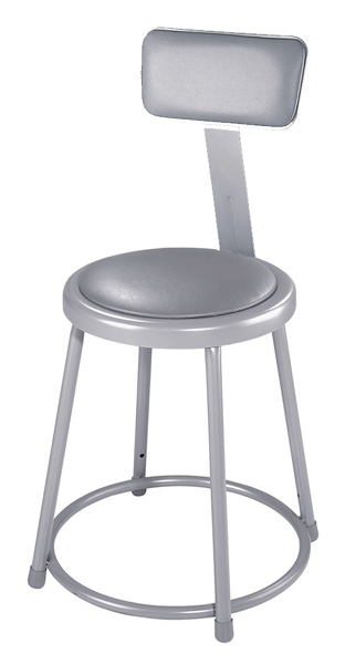 Fixed Height Heavy-Duty Padded Lab Stools w/Backrest
