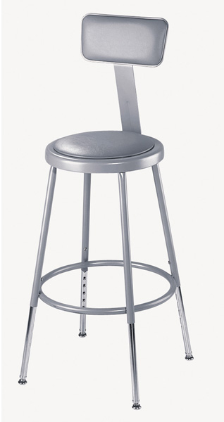 Adjustable Height Heavy-Duty Padded Lab Stools w/Backrest