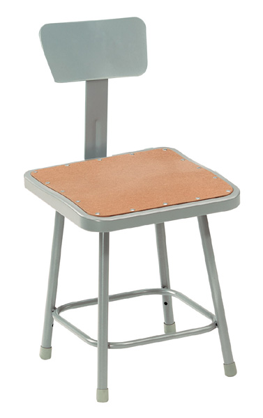 Square Fixed Height Heavy-Duty Stools w/Backrest