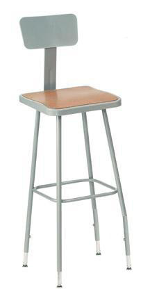 Square Adjustable Height Heavy-Duty Stools w/Backrest