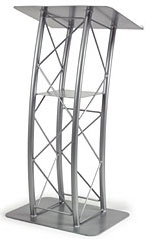 Silver Aluminum Curved Truss Lectern