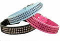 Leather Collars with 3-Rows Of Rhinestones