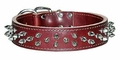 1-1/2 inch wide Leather Dog Collar with Spikes