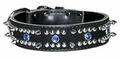 Spiked and Jeweled Leather Dog Collar