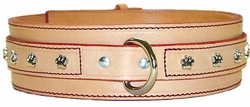 Wide Jumbo Leather Dog Collar with Paws