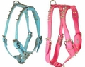 Pink or Blue Spiked Leather Harness