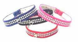 2 Row Rhinestone Velvet Collar 3/4 in wide