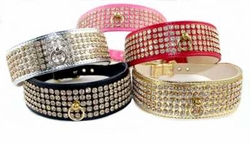 5 Row Rhinestone Dog Collars