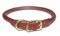 Round Latigo Leather Dog Collar 3/4 Inch Wide