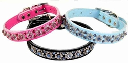 Leather Collars with Fancy Filigree Rhinestones  1 inch wide