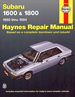 Subaru 1600, 1800 Repair Manual 1980-1994