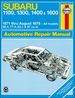 Subaru 1100, 1300, 1400, 1600, 4WD, MPV, Brat Repair Manual 1971-1979