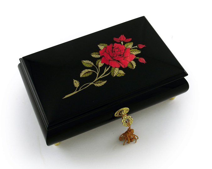 Enchanting 30 Note Black Lacquer Single Red Rose with Gold Hardware Music Jewelry Box with 30 Note Tune-Greensleeves