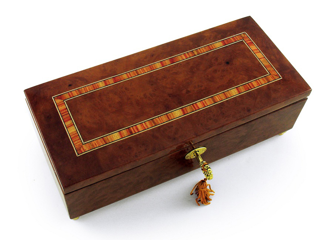 Lavish Hand Made Classic Style Music Jewelry Box with Lock and Key with 18 Note Tune-I Only Have Eyes For You