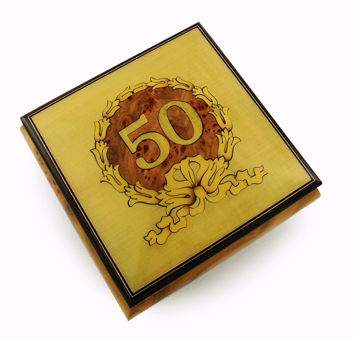 Extraordinary 50th Anniversary / Birthday with Gold Wreath Music Box with 18 Note Tune-Battle Hymn of the Republic