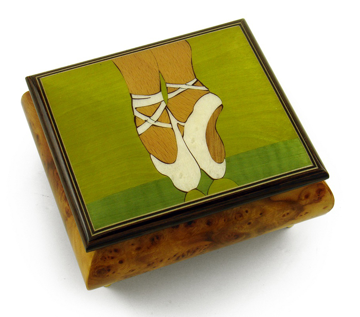 Graceful Ballerina's Pointe Shoes Wood Inlay Music Jewelry Box with 18 Note Tune-Greensleeves