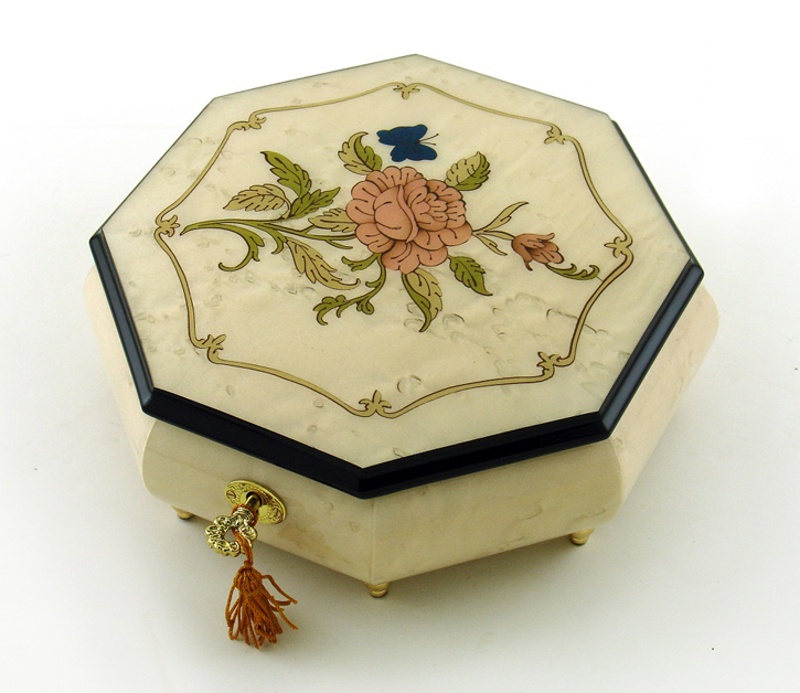 Immaculate 30 Note Ivory Stain Octagonal Music Jewelry Box  with Rose and Butterfly Inlay with 30 Note Tune-A Whole New World