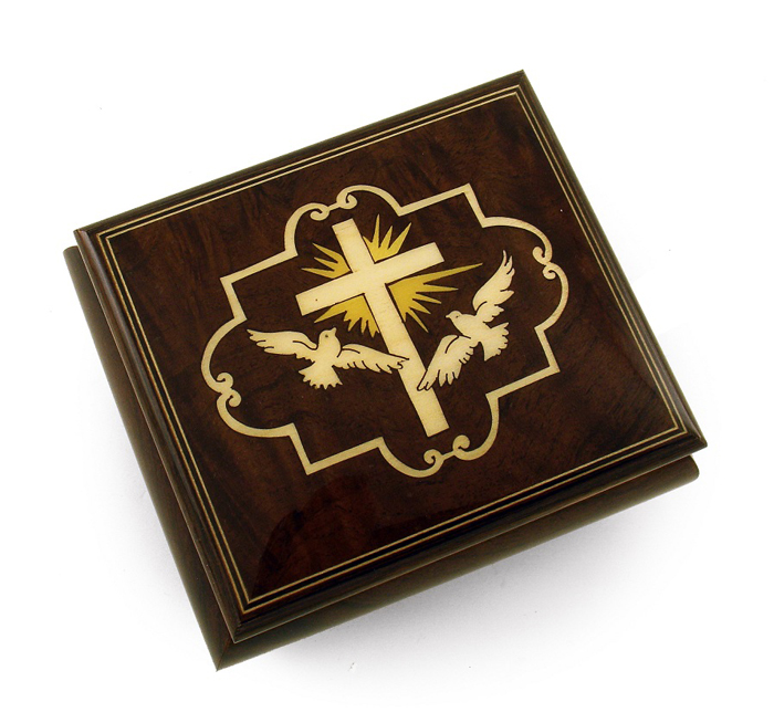 Harmonious Cross and Dove Sorrento Wood Inlay Music Jewelry Box with 18 Note Tune-Mary Had A Little Lamb