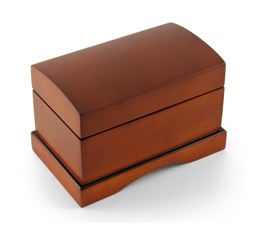 Classic Petite Wooden Brown Musical Jewelry Chest, Great Gift with 18 Note Tune-18th Variation
