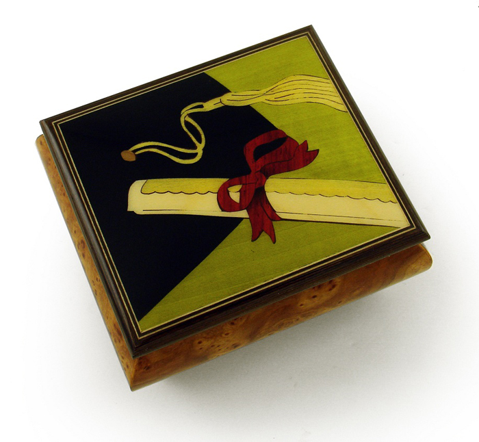 Incredible Graduation Cap with Diploma Wood Inlay Music Box with 18 Note Tune-Twinkle, Twinkle Little Star