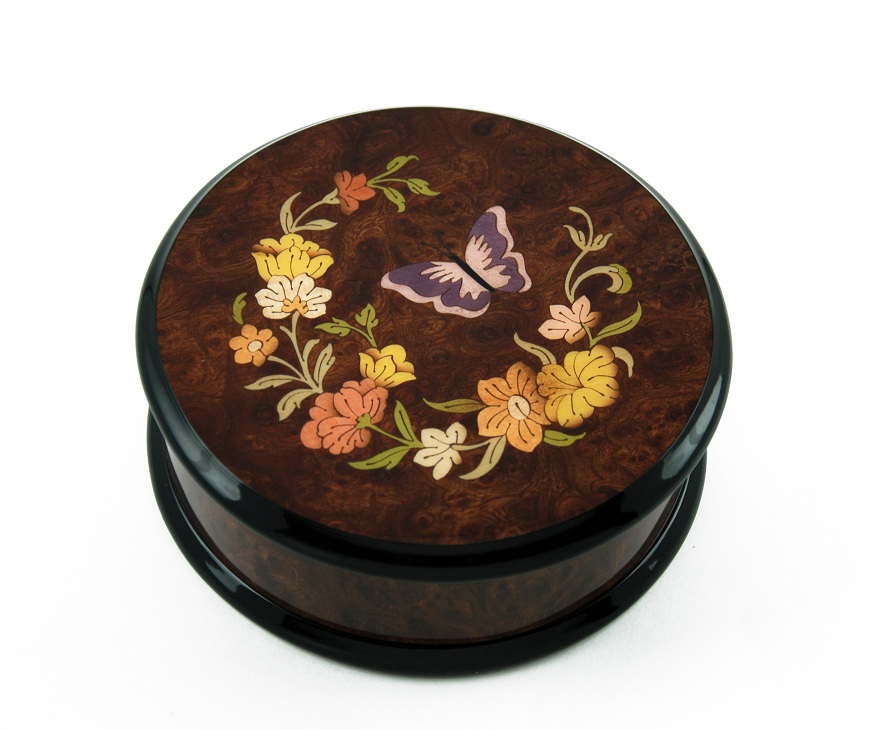 Gorgeous Handcrafted Round Butterfly and Floral Music Jewelry Box with 18 Note Tune-Around the World in 80 Days (V.Young) – SWISS