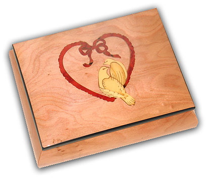 Adorable and Pretty Pink Inlaid Music Box with Heart and Dove Inlay with 18 Note Tune-Light My Fire