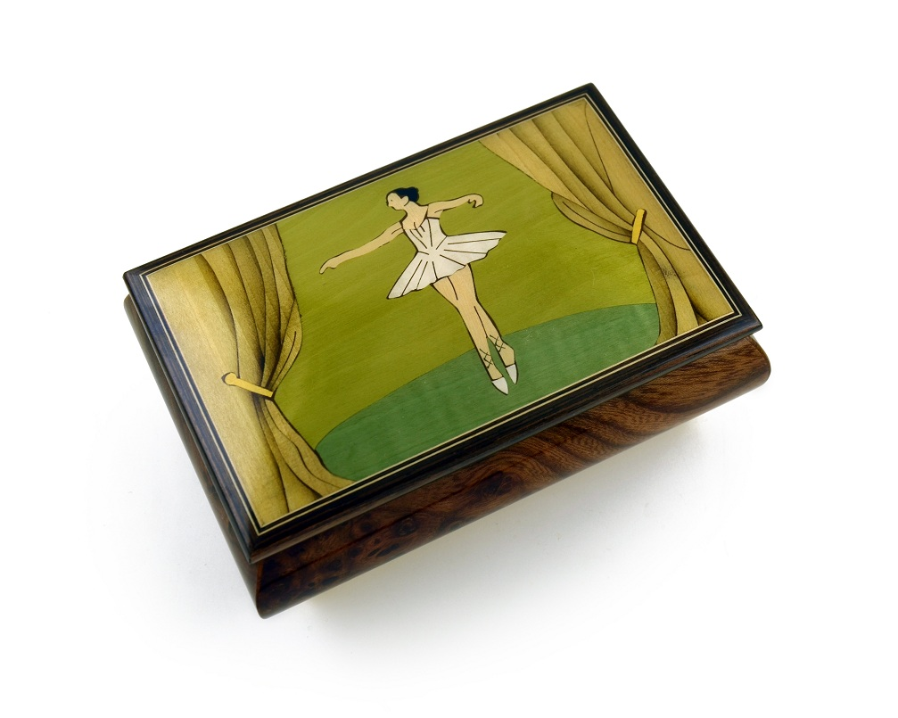 Gorgeous Wood Inlay 22 Note Ballerina Musical Jewelry Box with 22 Note Tune-Anniversary Song - 1 Available