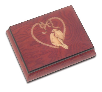 Deep Red Musical Jewelry Box with Hand Inlaid Doves Sitting in a Heart with 18 Note Tune-Let Me Call You Sweetheart