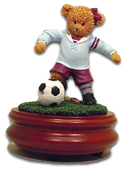Gorgeous Soccer Girl Symphony Gifts Figurine with 18 Note Tune-Blue Danube, The (Strauss) - SWISS