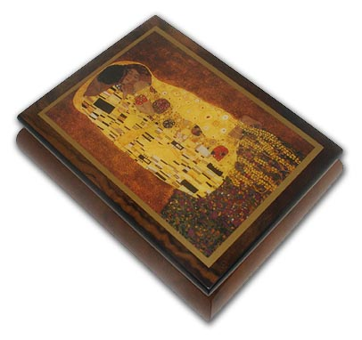 Abstract Romantic Couple Theme Inlaid Small Ercolano Music Box with 18 Note Tune-Sleeping Beauty Waltz, The (Once Upon A Dream) - SWISS