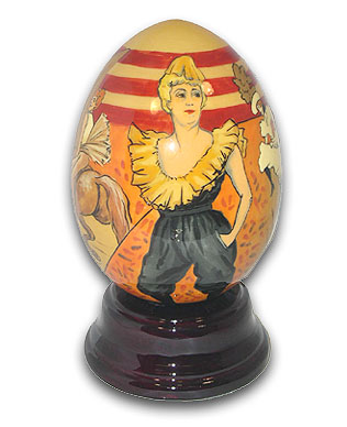 Toulouse Hand Painted Reuge Musical Egg, Beautiful with 18 Note Tune-Singing In The Rain