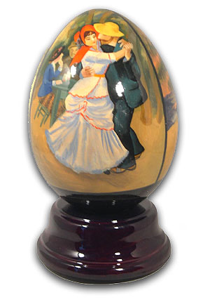 Renoir Hand Painted Reuge Musical Egg with 18 Note Tune-My Kind of Women, My Kind of Man – SWISS