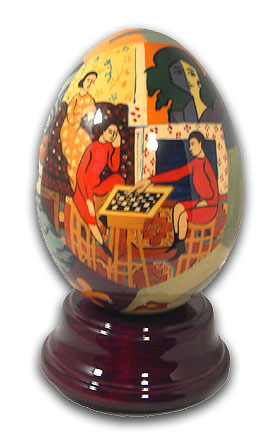 Matisse Hand Painted Reuge Revolving Musical Egg with 18 Note Tune-Blue Danube, The (Strauss) – SWISS