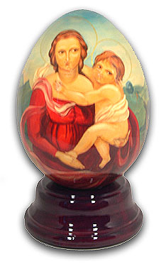 Madonna Hand Painted Reuge Musical Egg with 18 Note Tune-Singing In The Rain