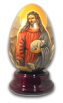 Christ Hand Painted Reuge Musical Egg, Fabulous with 18 Note Tune-Glockenspiel (Magic Flute)