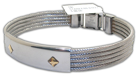 Chic Men's ID Style Bracelet Made from Stainless Steel, With 18K Diamond Shaped Gold Accents