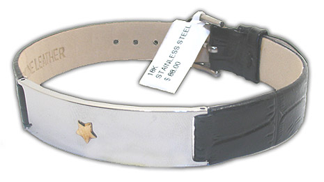 Amazing Stainless Steel Unisex Bracelet with  Star Shaped 18K Gold Accent on Top