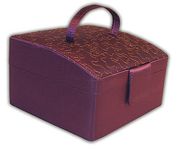 Rowalland Evelyn Sloping Top Violet Embroidered Jewelry Box with Click here to purchase engraving services-Do not provide an engraved plaque