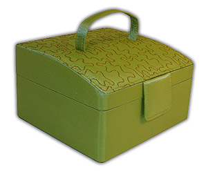 Rowalland Evelyn Sloping Top Green Embroidered Jewelry Box with Click here to purchase engraving services-Do not provide an engraved plaque