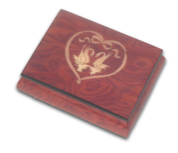 Beautiful Sweet Swans Meeting in a Lovely Heart Music Box in Wine Red Perfect Romantic Christmas Gift with 18 Note Tune-Jingle Bells