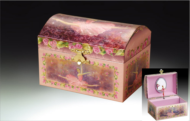 Incredible Purple Ballerina Musical Jewelry Box Playing Swan Lake with Click here to purchase engraving services-Do not provide an engraved plaque