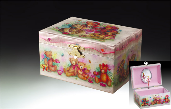 Lovely Bear Childrens Musical Jewelry Box with Click here to purchase engraving services-Do not provide an engraved plaque