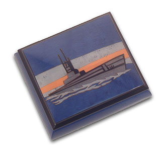 Beautiful Blue War Ship Musical Jewelry Box with 18 Note Tune-Way We Were, The