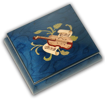 Top Quality Blue Music Box from Ercolano with Mandolin Inlay  with 18 Note Tune-Yellow Bird (Bergman)